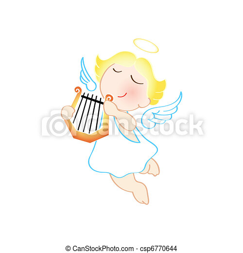 Angel with harp - csp6770644