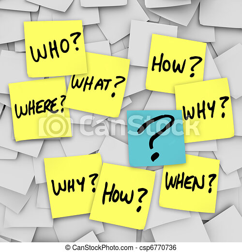 Questions and Question Mark - Sticky Note Confusion - csp6770736
