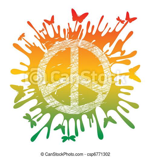 hippie peace symbol - csp6771302