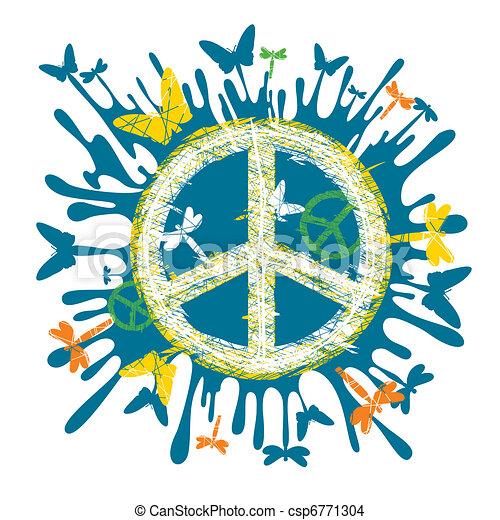 hippie peace symbol - csp6771304