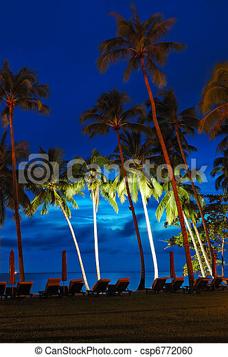 Beach at sunset with illuminated coconut palms, Koh Chang island, Thailand - csp6772060