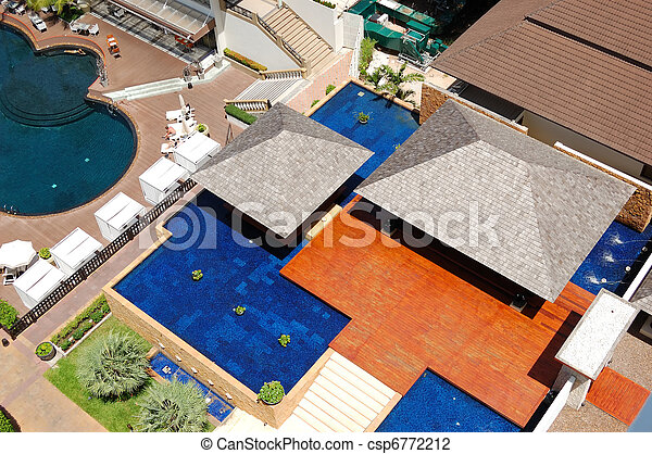 Aerial view on vlila with  swimming pools at the  popular hotel, Pattaya, Thailand - csp6772212