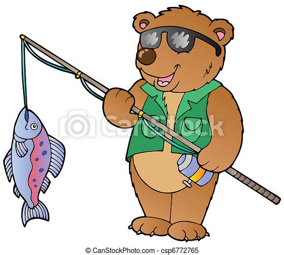 Cartoon bear fisherman - csp6772765
