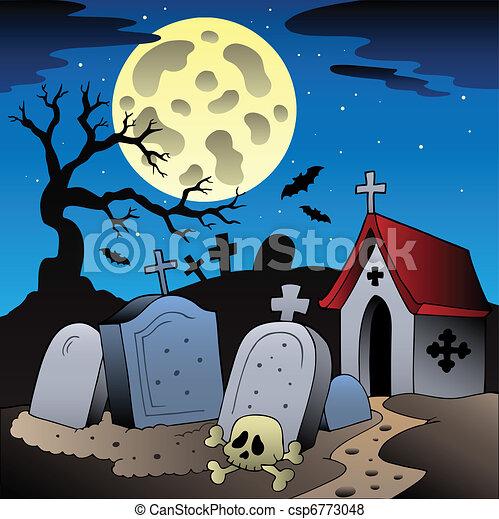 Halloween scenery with cemetery 1 - csp6773048