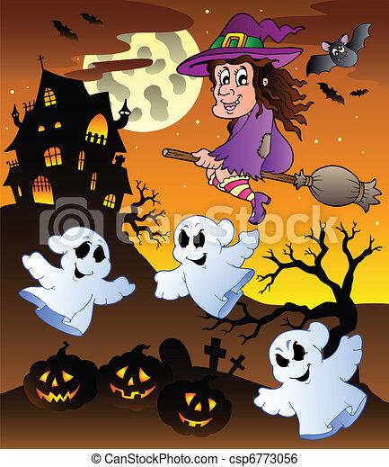 Clip art vecteur de manoir 5 sc ne halloween scene halloween manoir 5 csp6773056 - Manoir dessin ...