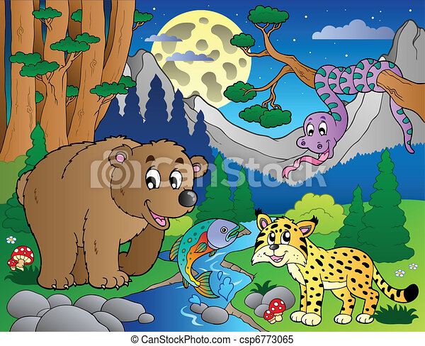 Forest scene with happy animals 1 - csp6773065