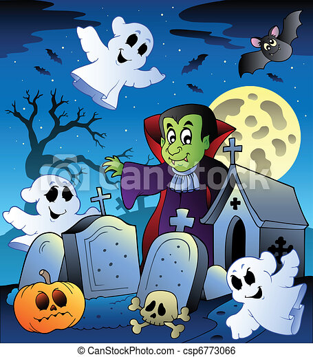 Halloween scenery with cemetery 3 - csp6773066