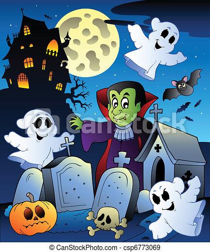 Halloween scenery with cemetery 4 - csp6773069