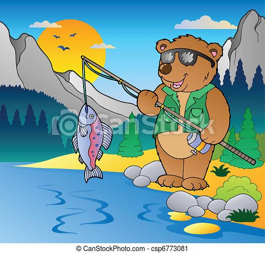 Lake with cartoon fisherman 2 - csp6773081
