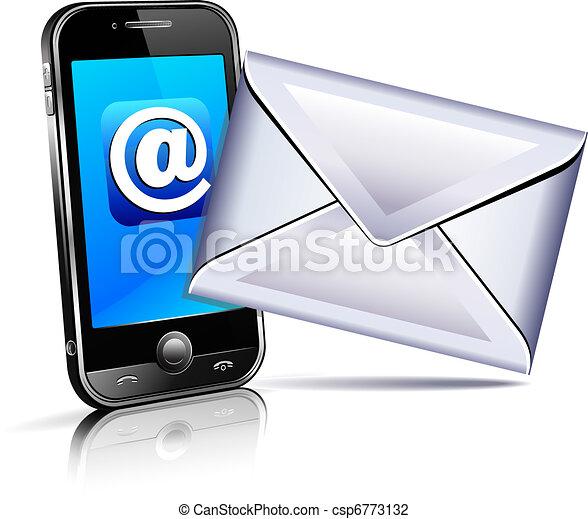 Send a letter icon, mobile phone 3D - csp6773132