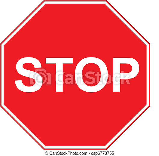 Stop sign isolated on pure white  - csp6773755