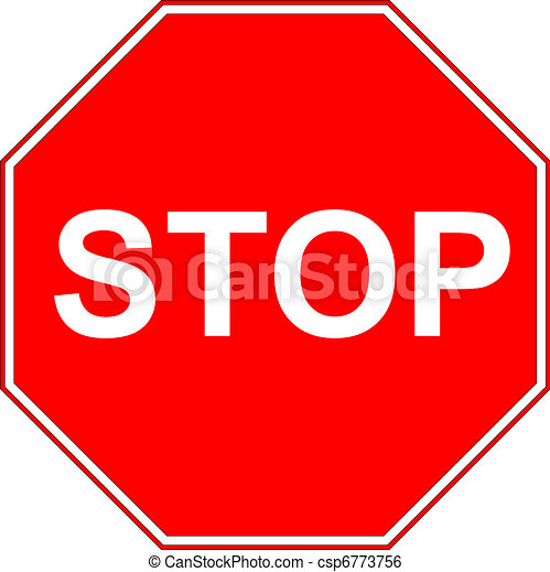Stop sign isolated on pure white  - csp6773756