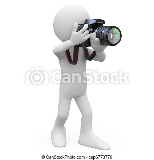 Man taking a picture with his SLR - csp6773770