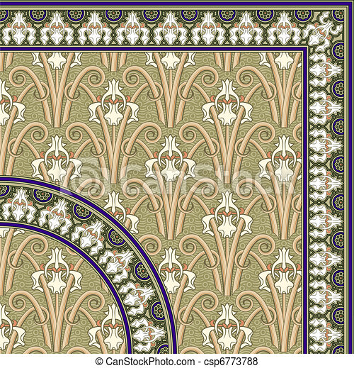 Classical floral pattern and Frame - csp6773788