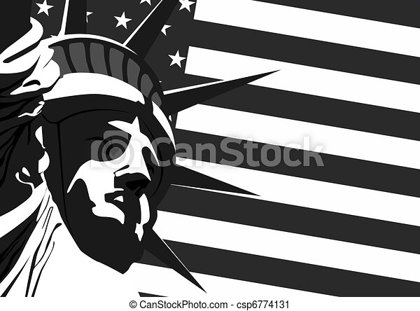 Vector Clip Art of Statue of Liberty and U.S. flag - Fragment of ...