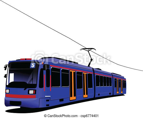 City transport. Tram. Vector illus - csp6774401
