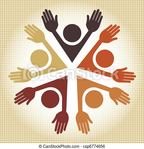 Colorful circle of people vector. - csp6774656