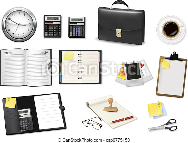 A briefcase, calculator, notebooks - csp6775153