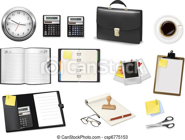 A briefcase, calculator, notebooks  - csp6775153