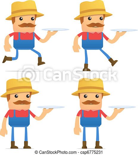 set of funny cartoon farmer - csp6775231