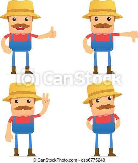 set of funny cartoon farmer - csp6775240