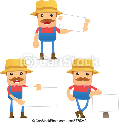 set of funny cartoon farmer - csp6775243