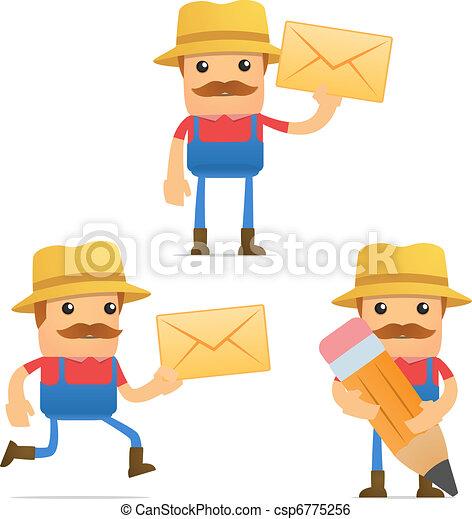 set of funny cartoon farmer - csp6775256