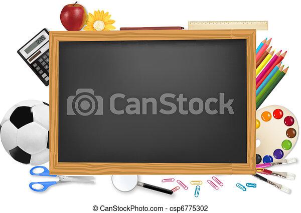 Black desk with school supplies.  - csp6775302