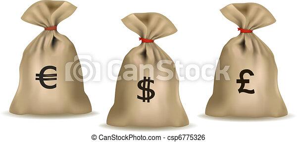 Money bag with dollars  - csp6775326
