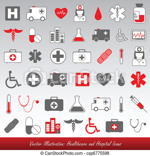 hospital and healthcare icons - csp6775598