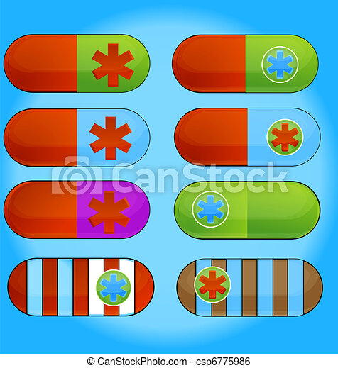 medic colored pills sign set isolated - csp6775986