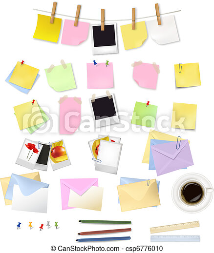 Note papers and office supplies. - csp6776010