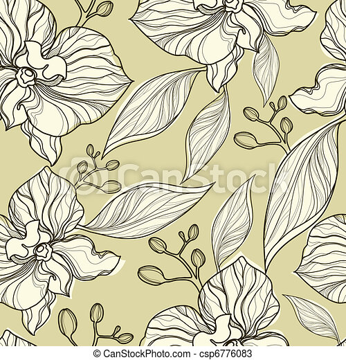 Seamless floral orchid pattern - csp6776083