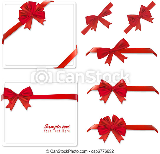 Collection of red bows. Vector.  - csp6776632