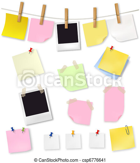 Note papers and office supplies. - csp6776641