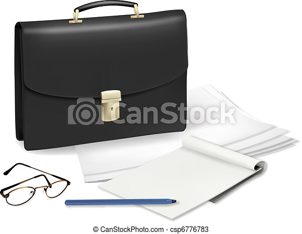 A briefcase and notebook - csp6776783