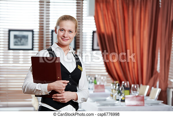 restaurant manager woman at work place - csp6776998