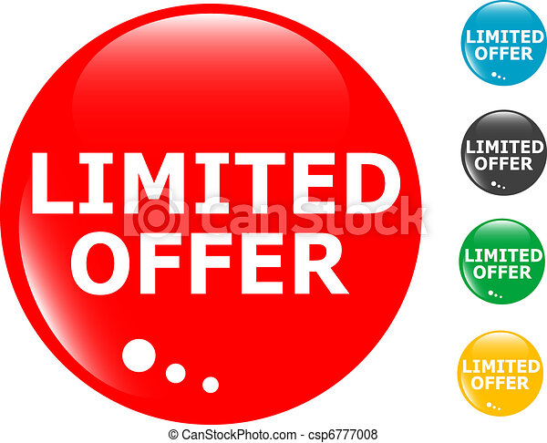 limited offers glass button icon - csp6777008