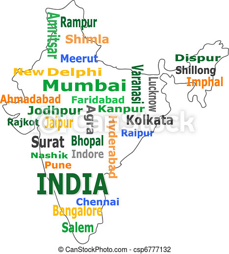india map and words cloud with larger cities - csp6777132