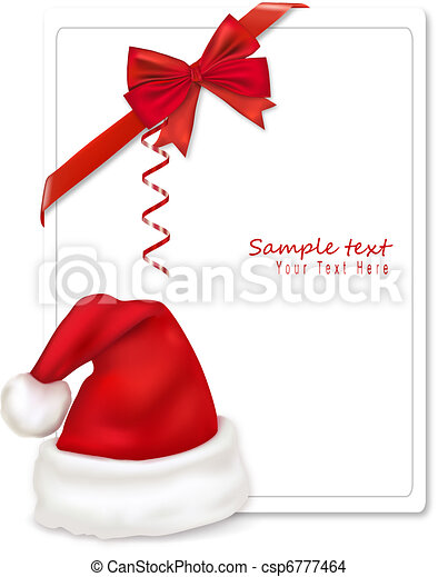 Red boww with ribbons and Santa hat - csp6777464