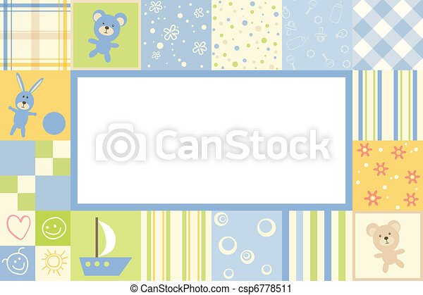 Vector Clip Art of Boy baby frame - Boy children border of the ...