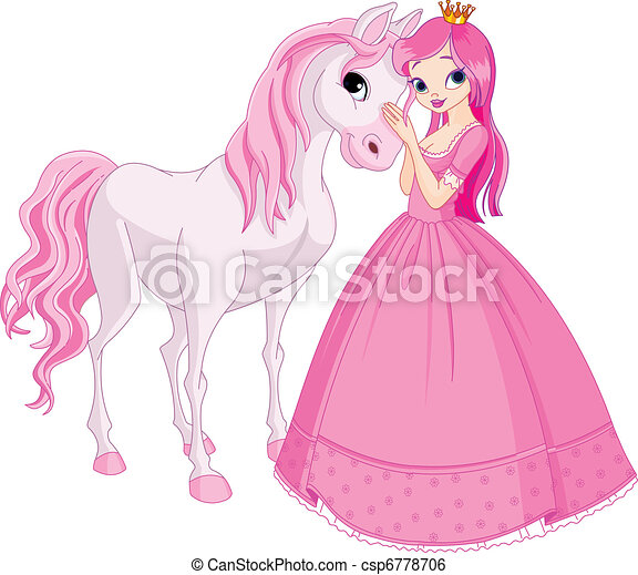 Beautiful princess and horse - csp6778706
