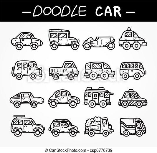 doodle cartoon car icon set - csp6778739