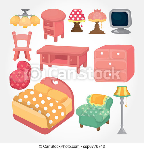 cute cartoon furniture icon set - csp6778742