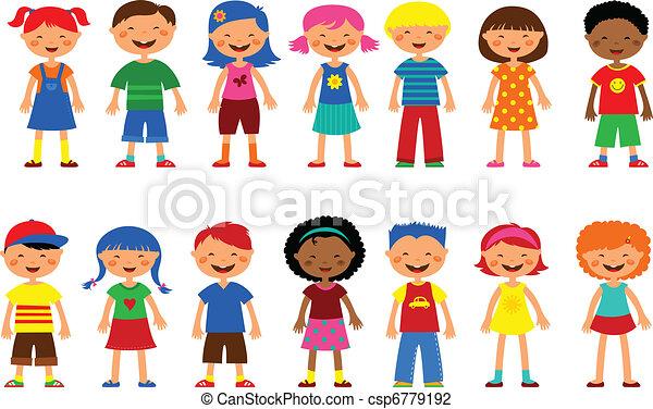 lindo, Conjunto, niños,  -,  vector, ilustraciones - csp6779192