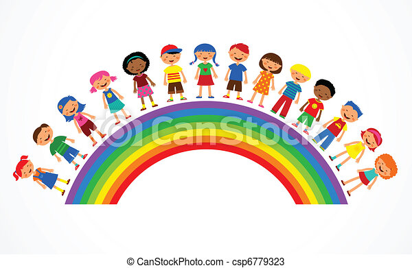 rainbow with kids, colorful vector illustration - csp6779323