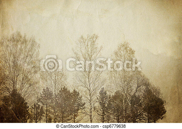 Trees on vintage paper sheet. - csp6779638