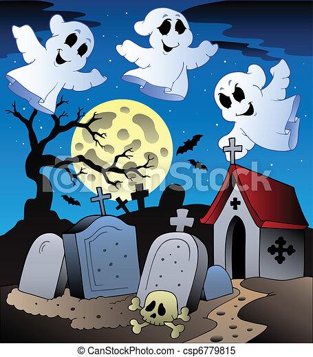 Halloween scenery with cemetery 2 - csp6779815