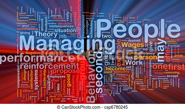 Managing people background concept glowing - csp6780245