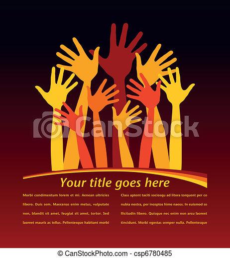 Many bright happy hands. - csp6780485
